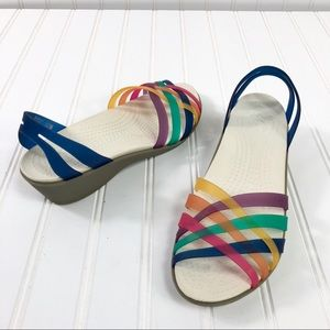 Crocs Rainbow Sandals flats Sz. 8